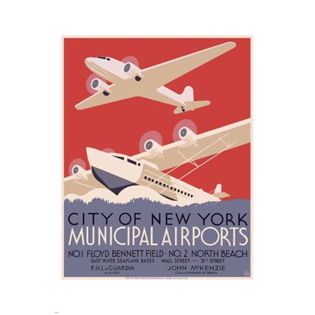 New Municipal Airport (New York City Municipal Airports Vintage Wpa Poster 1937 24X36)