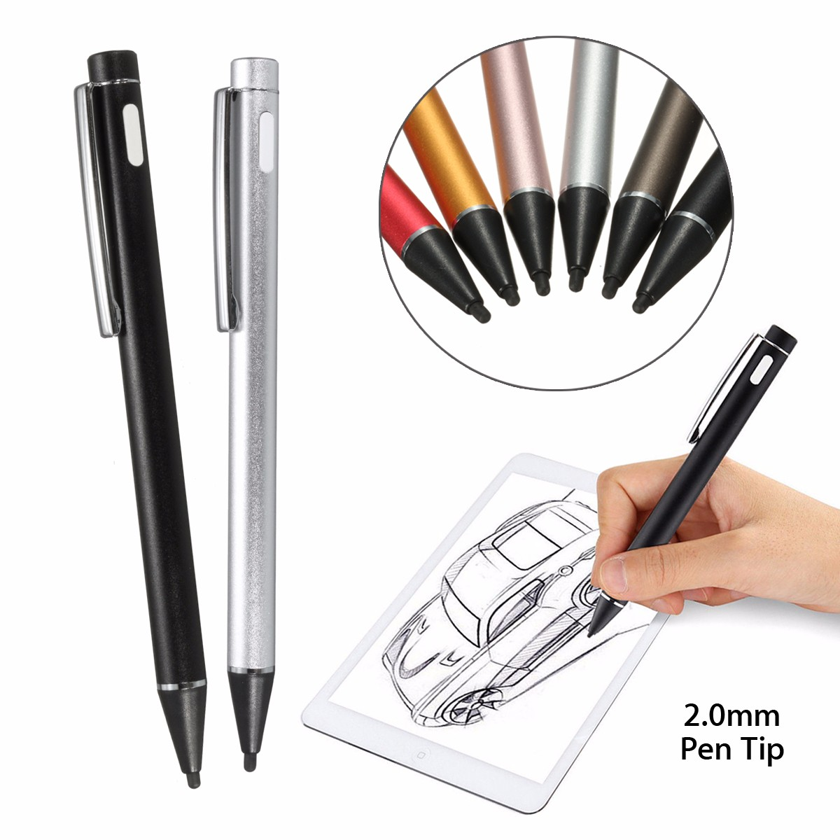 USB Rechargeable 2.0mm Active Stylus Touch Screen Drawing Pen for Universal Smart Phone & Tablet PC