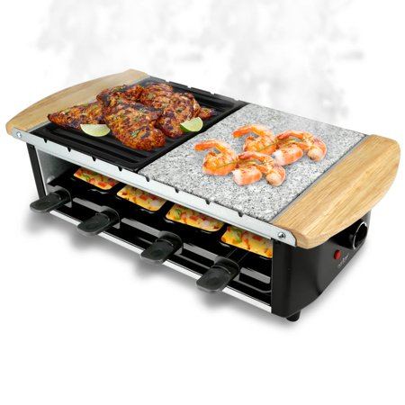 NutriChef PKGRST54 - Raclette Grill, Two-Tier Party Cooktop, Stone Plate & Metal Grills