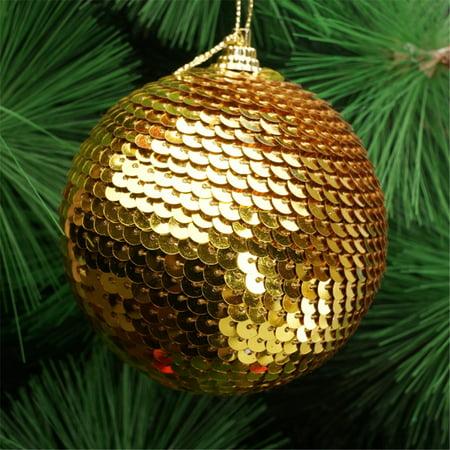 Christmas Sequin Glitter Baubles Balls Xmas Tree Ornament Decoration 8CM