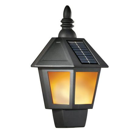 Traditional Black Flickering Solar Wall Lamp - Outdoor Entry - Outdoor Traditional Wall