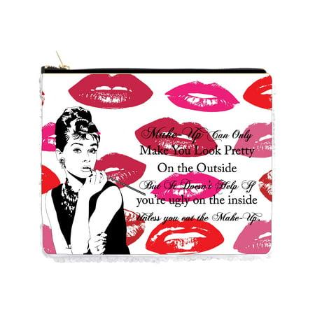 Audrey Hepburn Halloween Makeup (Audrey Hepburn Makeup Quote on Kiss Lips Print - 2 Sided 6.5