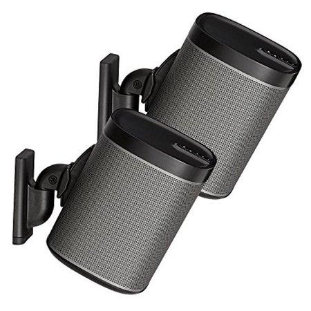 (Sanus Wireless Speaker Wall Mounts for Sonos PLAY:1 & PLAY:3 - Tool Free Tilt & Swivel Adjustments For Best Audio - Pair (Black) - WSWM2-B1)