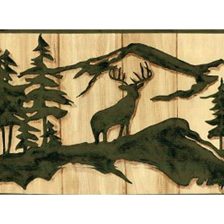 878510 Deer Bear Moose Silhouette Wallpaper Border Wl5537b