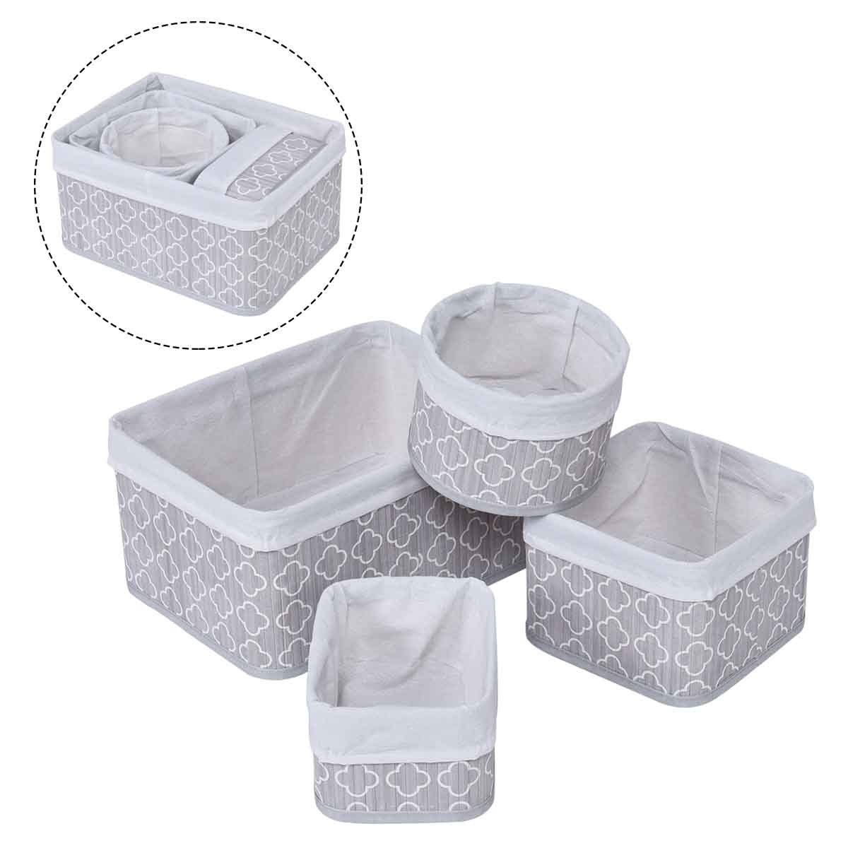 Gymax 4 Set Fabric Lined Bamboo Baskets Storage Laundry Bin Organizers Flower Pattern