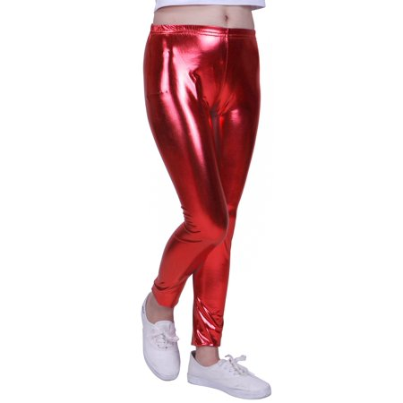 eb0978456563b HDE - HDE Girls Shiny Wet Look Leggings Kids Liquid Metallic Footless Tights  (Red, 10/12) - Walmart.com