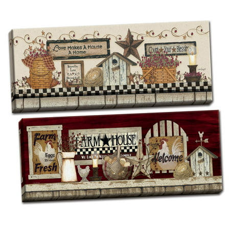 Gango Home Decor Country-Rustic Love Makes a House a Home & Farm Rooster Shelf by Linda Spivey (Ready to Hang); Two 20x8in Hand-Stretched Canvases