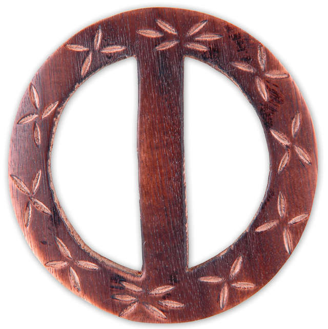 Vision Trims Handmade Wood Buckle Circle-Carved Flowers Multi-Colored