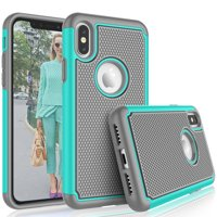 """Tekcoo For iPhone XS Max Case / (6.5"""") iPhone XS Max Cute Case, [Tmajor] Shock Absorbing [Turquoise] Rubber Silicone & Plastic Scratch Resistant Bumper Grip Sturdy Hard Cases Cover"""