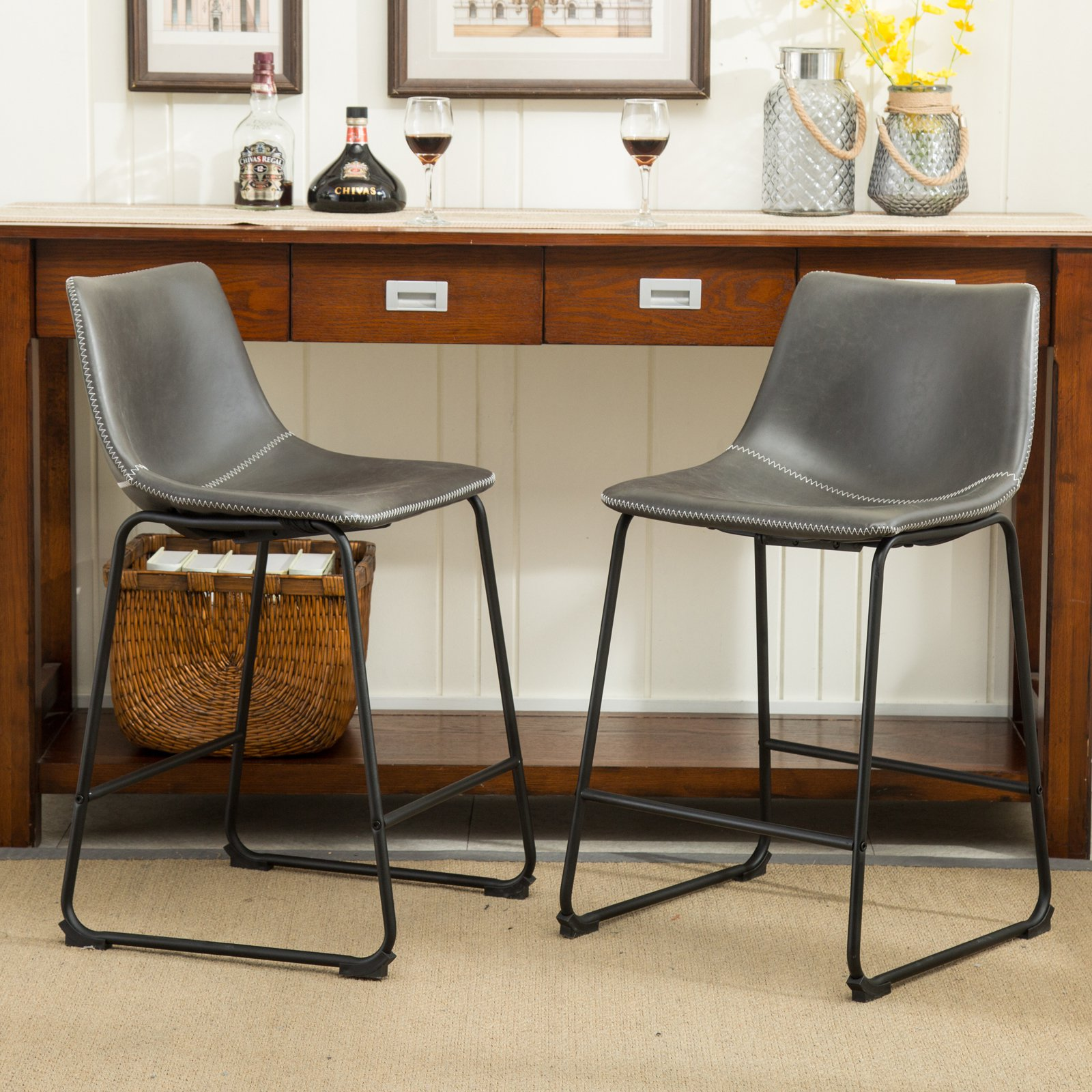 leather counter height stools Roundhill Furniture Lotusville Vintage PU Leather Counter Height  leather counter height stools