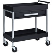 2 Shelf Tool Cart Utility Cart Service Cart Heavy Duty with Lock Drawer & Wheels