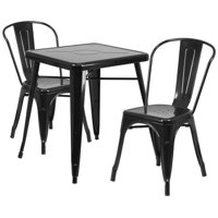 "Lancaster Home 23.75"" Square Metal Indoor-Outdoor Table Set with 2 Stack Chairs"