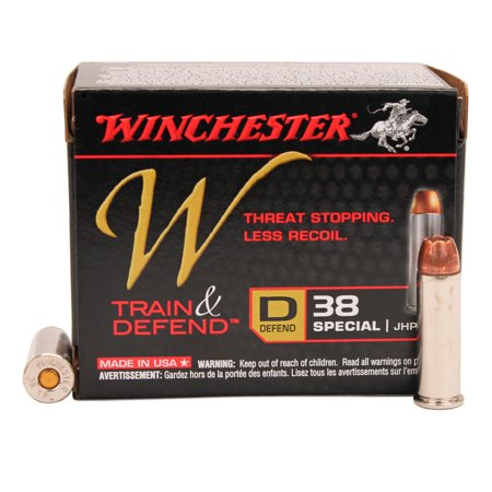 Winchester Ammo W38SPLD 38 Special Defender, 130 Gr, JHP Reduced Recoil (20Pk)