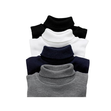 Unisex Turtleneck Dickies - 4 Pack Mock Turtlenecks - Navy/Gray/White/Black