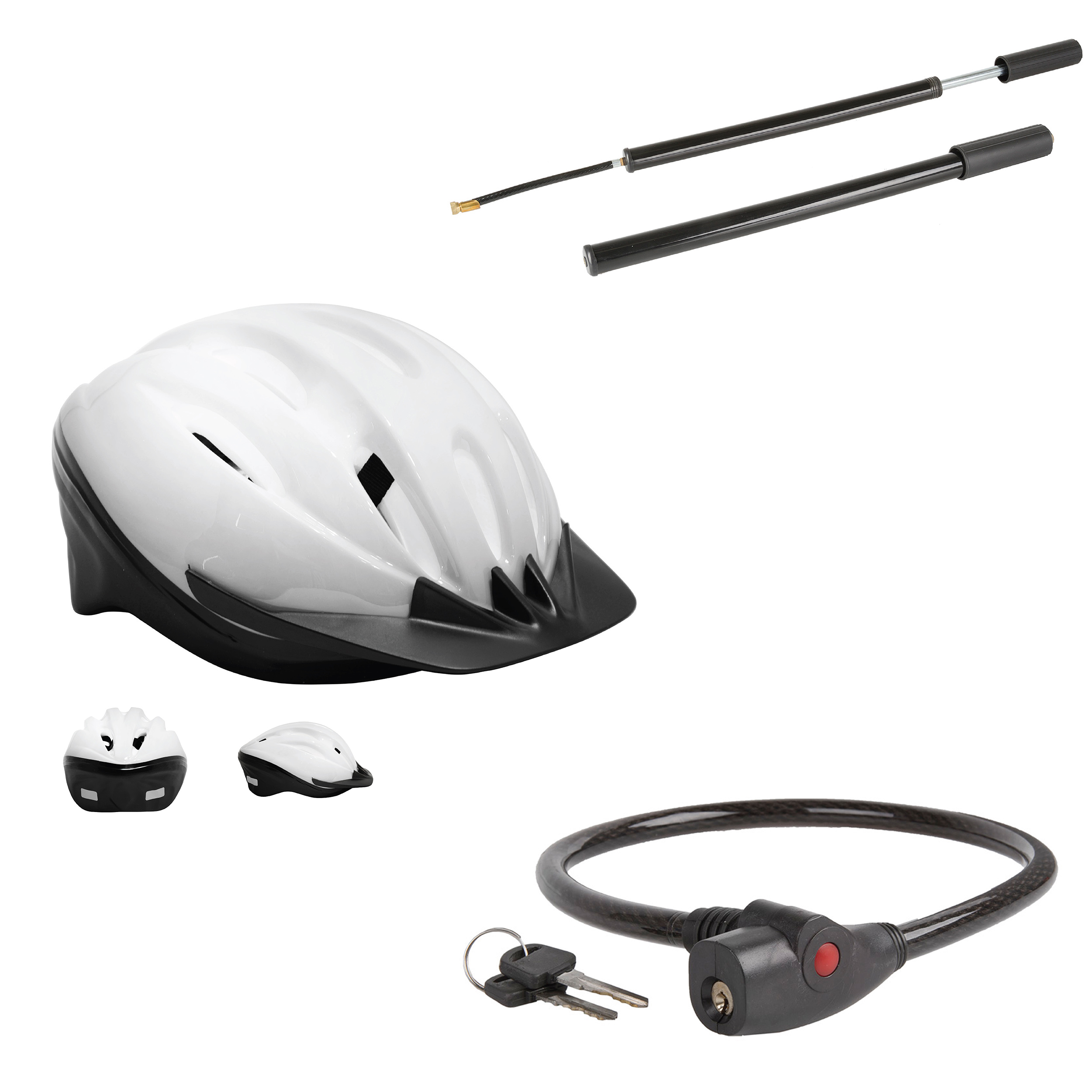 Cable Lock and Hand Pump Bundle in Adult and Youth Sizes Bicycle Helmet