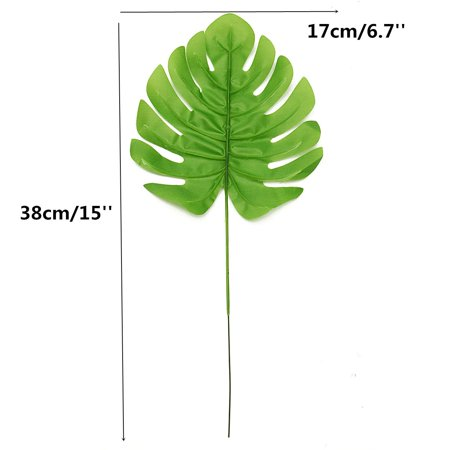 12Pcs Artificial Turtle Leaf Palm Fern Plant Tree Branch Green Wedding Decor Bush - image 5 of 7
