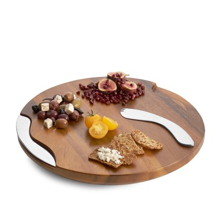 Nambe Wood Cheese Board with Knife and Spreader