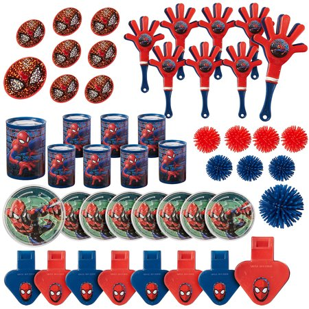 Spiderman Birthday Favors (Amscan Spider-Man Webbed Wonder Mega Mix Value Pack, Party)