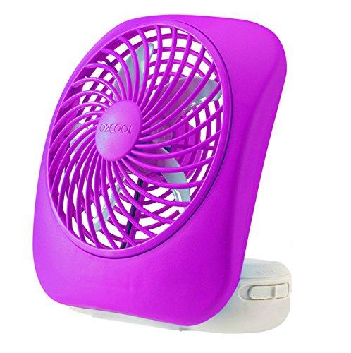O2COOL 5-Inch Portable Fan, Desktop Fan, Battery Operated Fan, 2-Speed Fan, Tilt Fan, Compact Folding Fan, D-Battery Fan, Tabletop Fan, Household Fan, Light Blue