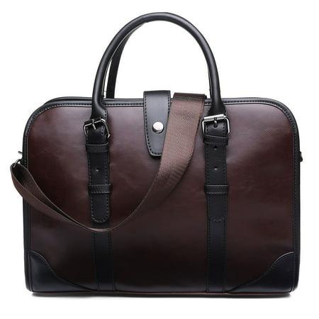 "14.17"" Brown PU Leather Laptop Messenger Bag for Men Women Business Briefcase Shoulder Handbag Office Work Tote Attache Case"
