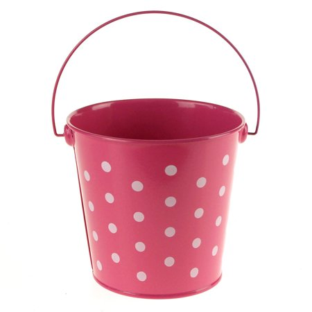 Polka Dot Metal Pail Bucket Party Favor, 5-Inch, Hot - Pink Pail