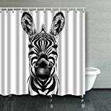 BPBOP Good Zebra Smiling Black And White Face Sketch Shower Curtain Polyester Bathroom Curtain 60x72 inches - White Smiling Face