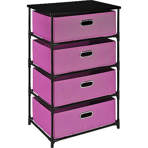 Altra 4 Drawer Canvas and Metal Storage, Pink and Black