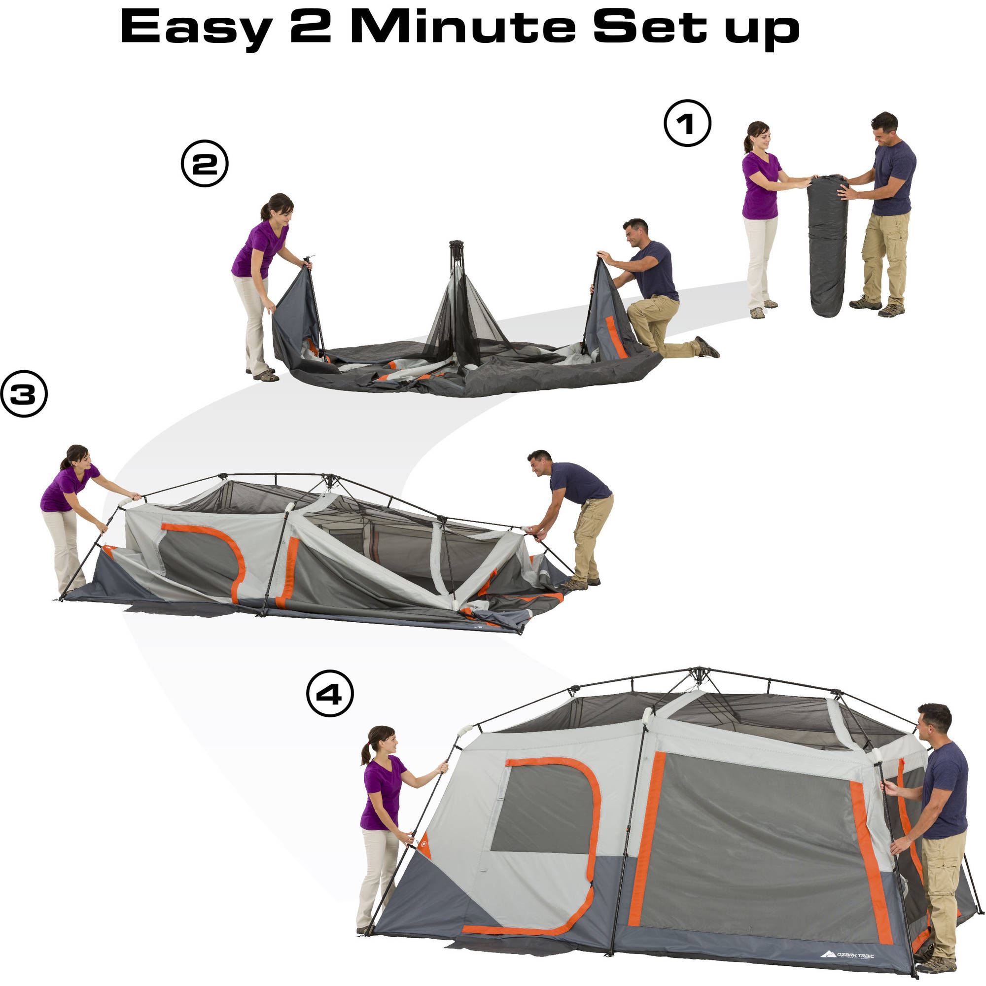 Ozark Trail 14u0027 x 10u0027 x 78  Instant Cabin Tent with Light Sleeps 10 - Walmart.com  sc 1 st  Walmart & Ozark Trail 14u0027 x 10u0027 x 78