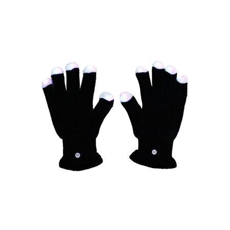 2 Pair RGB LED Black Gloves Muiticolor Colors Light Show - Led Light Gloves