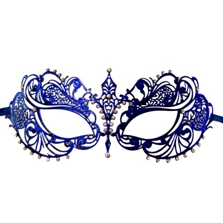 Cat Masquerade Masks (Blue Crystal Beautiful Eyes Laser Cut Venetian Mask Masquerade)