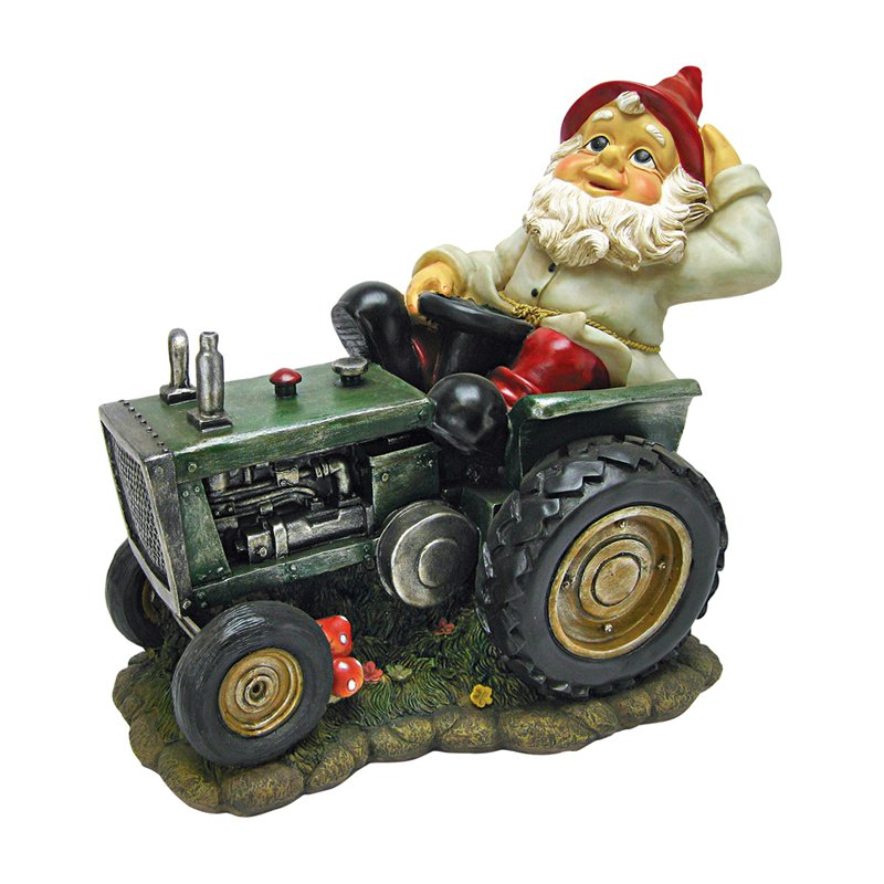 Plowing Pete on His Tractor Garden Gnome Statue by Design Toscano