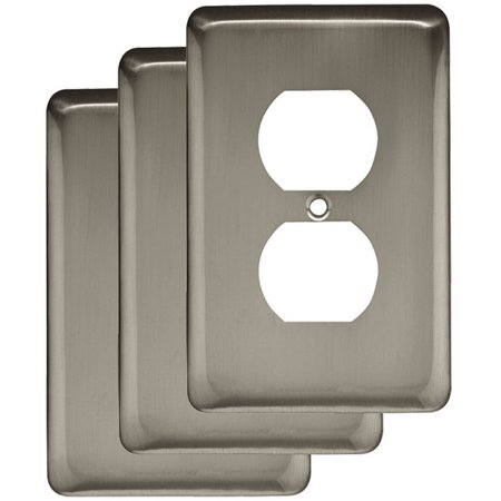 Franklin Brass Stamped Round Single Duplex Wall Plate in Satin Nickel, 3-Pack