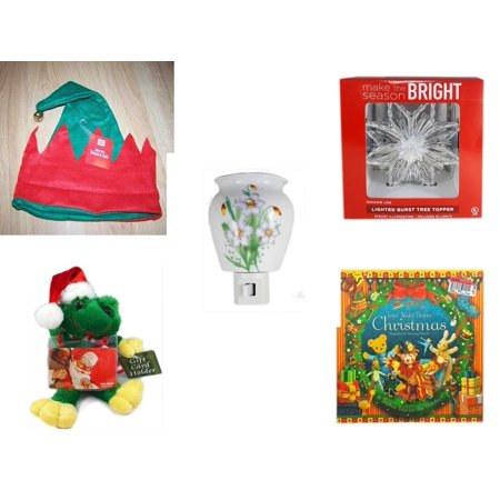 Christmas Fun Gift Bundle [5 Piece] -  Elf Hat w/ Jingle Bell - Deck The Halls Lighted Burst Silver Tree Topper - Flower Nightlight Lily -  Santa Frog  Gift Card Holder 6