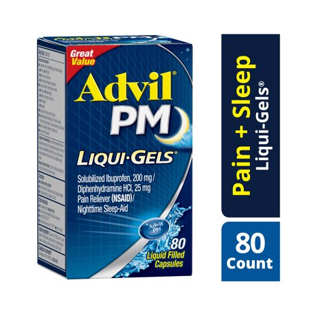 Advil PM (80 Count) Pain Reliever / Nighttime Sleep Aid Liquid Filled Capsule, 200mg Ibuprofen, 38mg