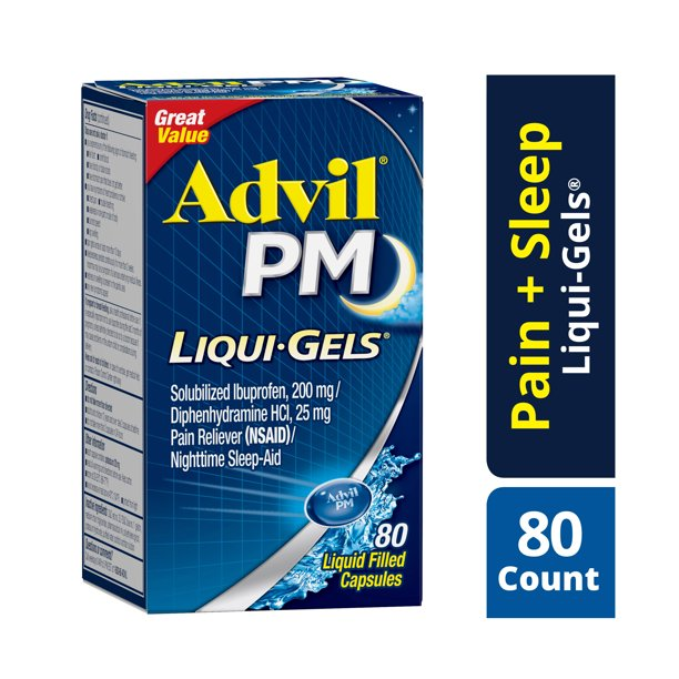 Advil PM (80 Count) Pain Reliever / Nighttime Sleep Aid Liquid Filled Capsule, 200mg Ibuprofen, 25mg Diphenhydramine