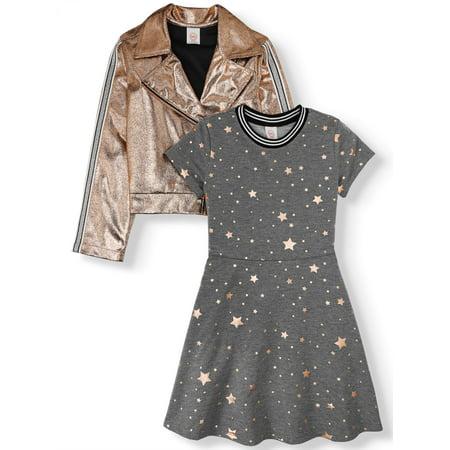 Wonder Nation Metallic Moto Jacket and Skater Dress, 2-Piece Set (Little Girls, Big Girls & (A Girl Kiss A Girl Without Dress)
