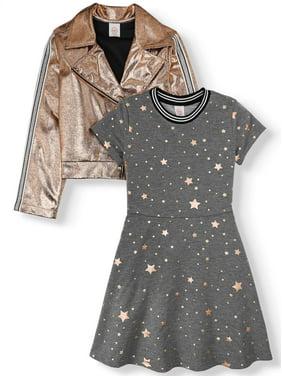 Wonder Nation Metallic Moto Jacket and Skater Dress, 2-Piece Set (Little Girls, Big Girls & Plus)