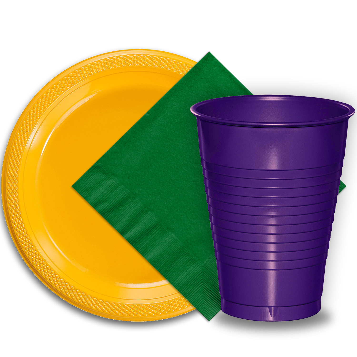 """50 Yellow Plastic Plates (9""""), 50 Purple Plastic Cups (12 oz.), and 50 Emerald Green Paper Napkins, Dazzelling Colored Disposable Party Supplies Tableware Set for Fifty Guests."""