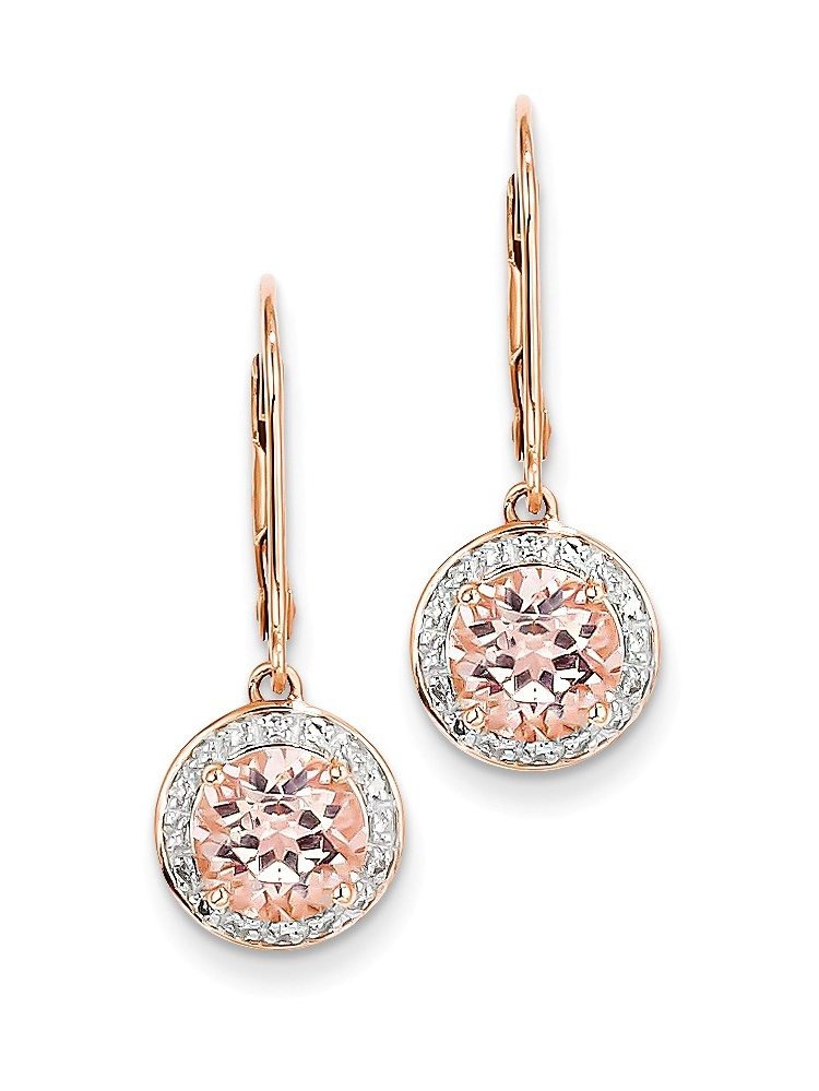 ICE CARATS 14kt Rose Gold Diamond Pink Morganite Round Leverback Drop Dangle Chandelier Earrings Lever Back Fine Jewelry... by IceCarats Designer Jewelry Gift USA