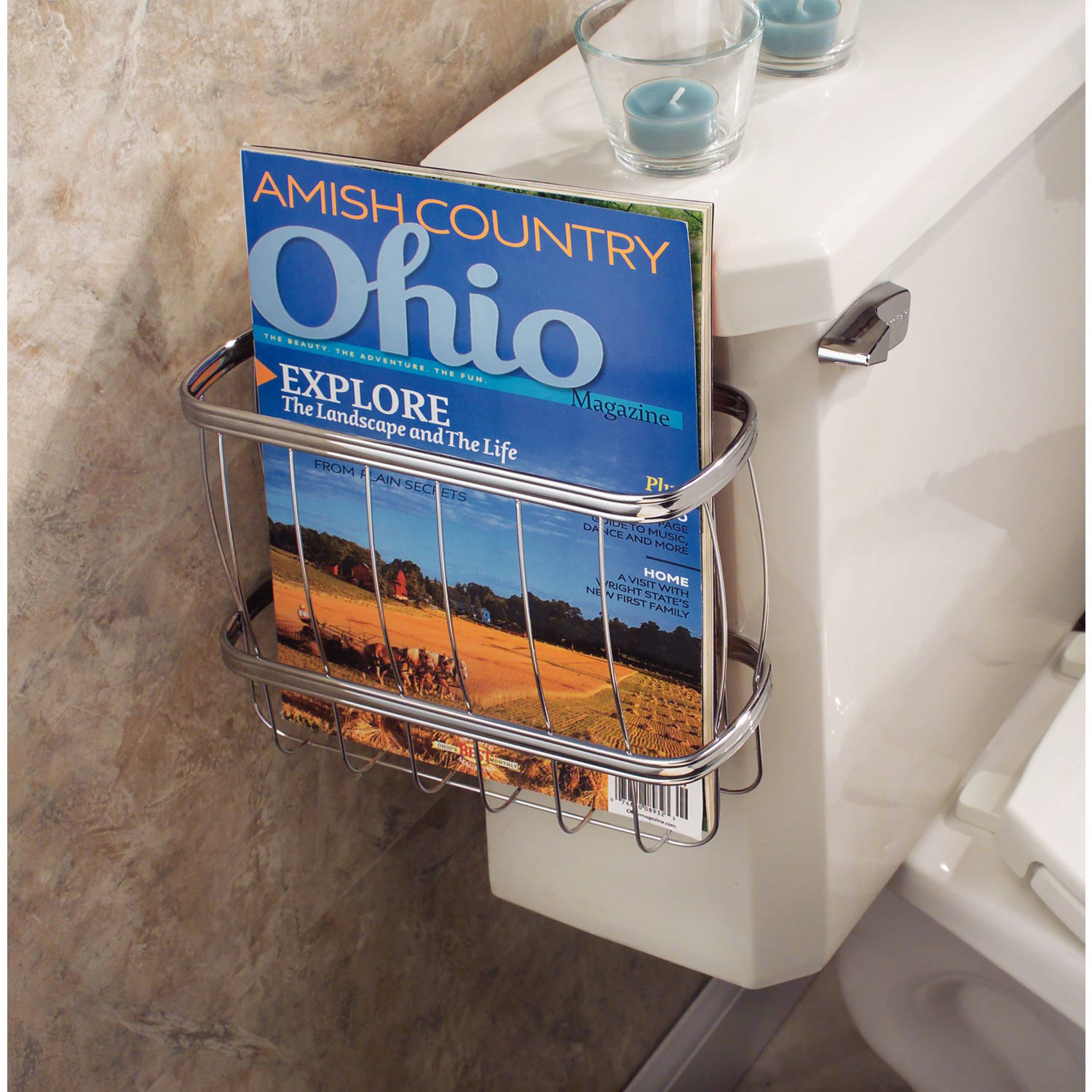 InterDesign York Lyra Newspaper and Magazine Rack for Bathroom Storage, Over the Tank
