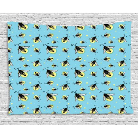 Firefly Tapestry, Flying Spring Season Bugs Pastel Wings Cute Kids Nursery Playroom, Wall Hanging for Bedroom Living Room Dorm Decor, 80W X 60L Inches, Aqua Yellow Dark Blue Grey, by Ambesonne](Flying Fireflies)