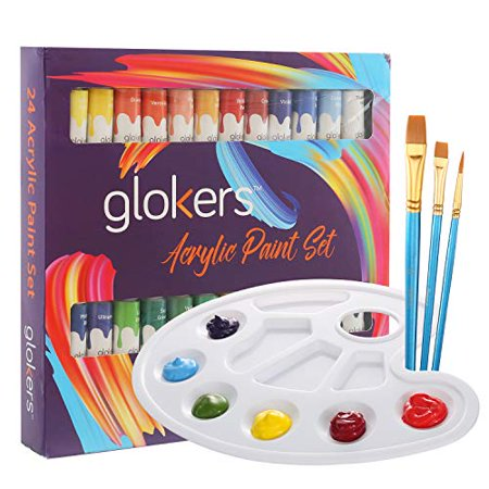 Acrylic Paint Set by glokers | 24 Rich Pigments Colors - Perfect for Canvas, Wood, Ceramic, Fabric. Non Toxic & Vibrant Colors. Painting Art Kit for Beginners, Adults, Students Or