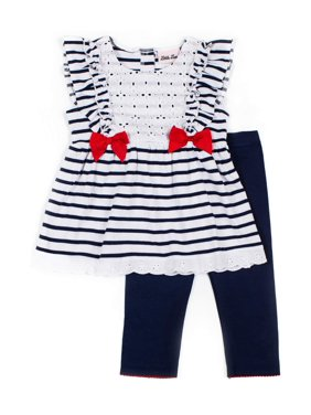 Little Lass Ruffles, Lace & Bows Nautical Stripe Top and Knit Denim Legging, 2-Piece Outfit Set (Little Girls)