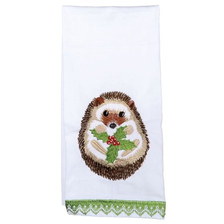 Hedgehog and Holly Leaves Embroidered Holiday Kitchen Dish Towel - Tea Leaf Dishes