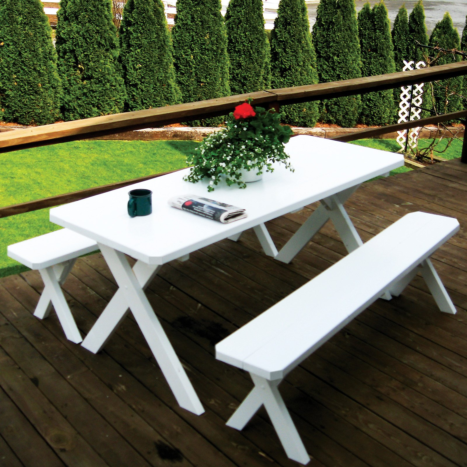 A & L Furniture Yellow Pine Cross Legged Picnic Table with 2 Benches