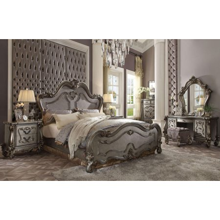 Acme Furniture 26860q Versailles Antique Platinum Finish Queen Bedroom Set 5pcs