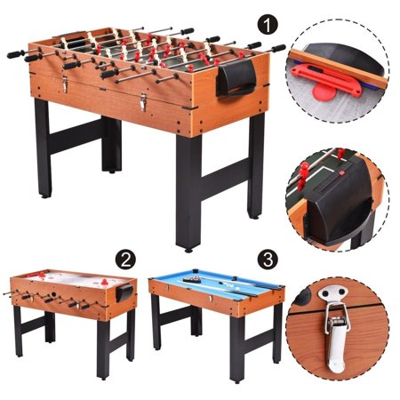 48 3 In 1 Multi Combo Table Foosball Soccer Billiards Pool Hockey
