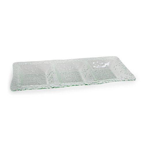 Rectangular 3 Sectional Textured Glass Platter