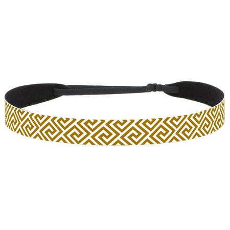 Hipsy Women's Adjustable NO SLIP Greek Key Fashion Headband (White & Tan) (Greek Goddess Headband)