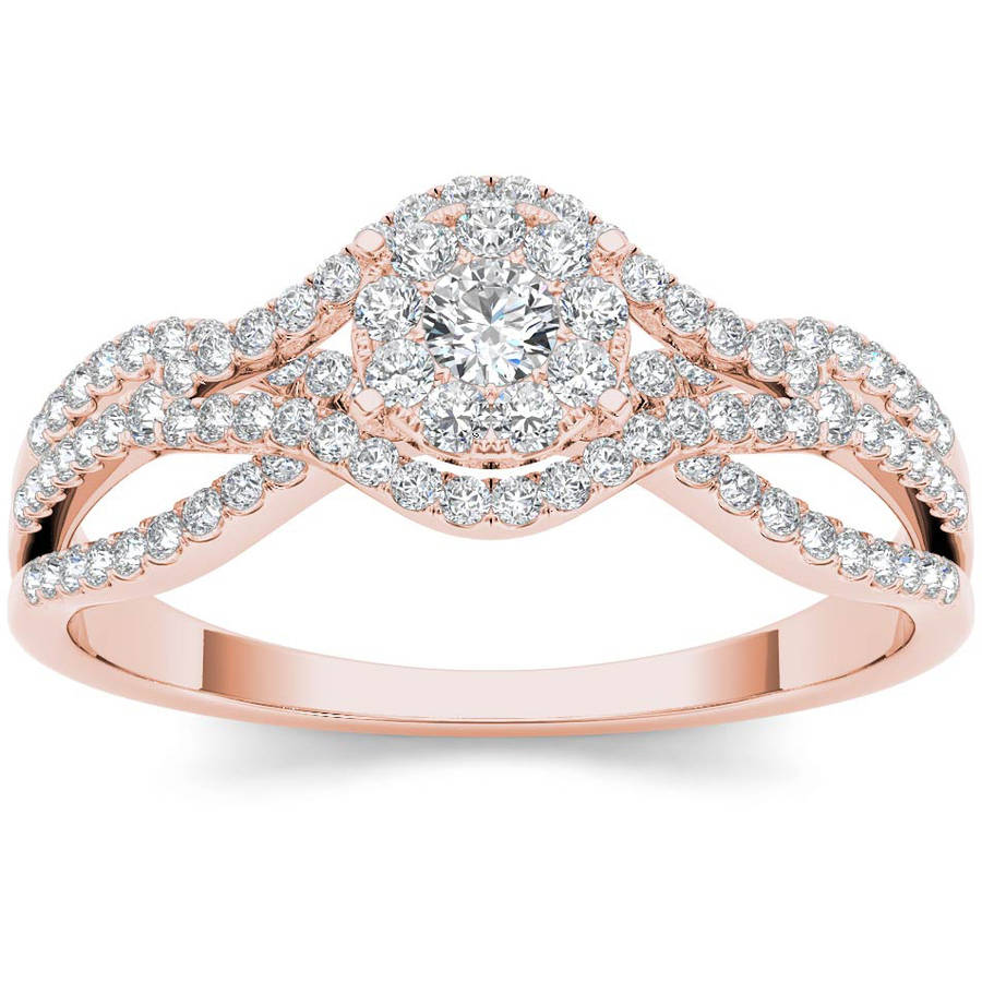 Imperial 1/2 Carat T.W. Diamond Criss-Cross Shank Cluster 10kt Rose Gold Engagement Ring